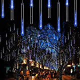 Fishda Meteor Shower Lights, 11.8 Inch 8 Tube 192 LED Falling Rain Lights, Icicle Snow Fall String Cascading Lights, Christmas Lights for Holiday Party Wedding, Garden Decoration (Blue)