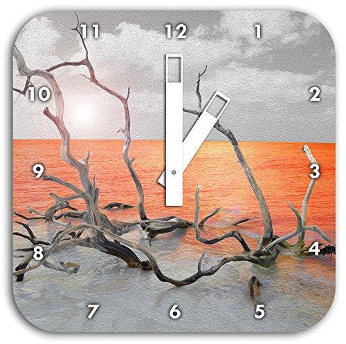 Stil.Zeit Treibgut am Meer schwarz/weiß, Wanduhr Quadratisch Durchmesser 28cm mit weißen eckigen Zeigern und Ziffernblatt