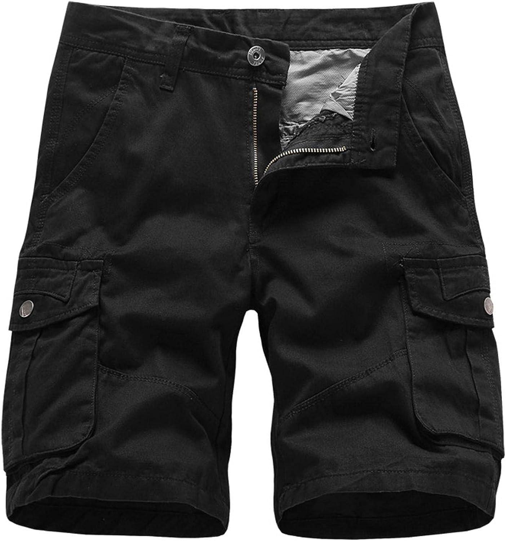 Sumen Men's Cargo Shorts Elastic Waist Workout Shorts Multi-Pocket Tactical Shorts Drawstring Solid Bike Shorts