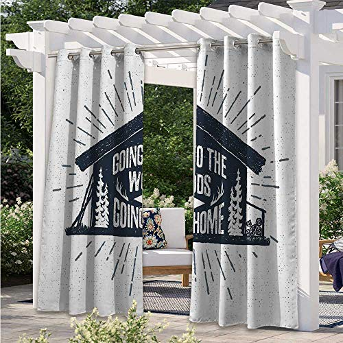 Adorise Outdoor Curtain Retro Style Hand Drawn Label with Wooden Cabin Chalet Quote Hipster Lodge Darkening Thermal Insulated Curtains Protect You from Sun/Rain Black White Grey W84 x L84 Inch
