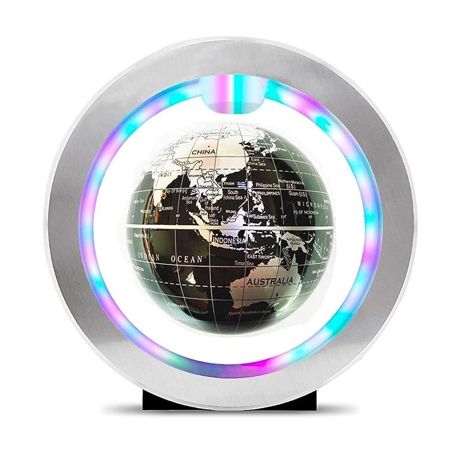 電気リハーサル見る子供のおもちゃ LEDライト付き4インチフローティンググローブO型磁気浮上回転家庭用デスク装飾、地理教育用世界地図 (色 : 銀)