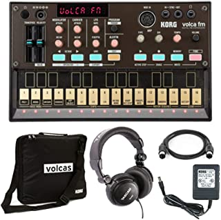 Korg VolcaFM Digital FM Synthesizer with Power Supply, Volca Case, Headphones and MIDI Cable Bundle (4 Items)