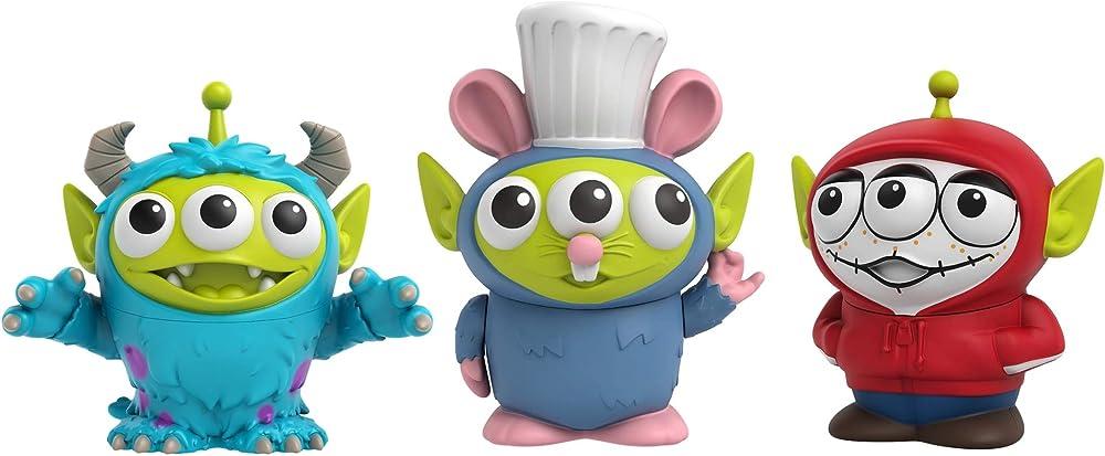 Mattel, disney pixar alien remix pack con 3 personaggi miguel, sulley & remy, da collezionare GPD05
