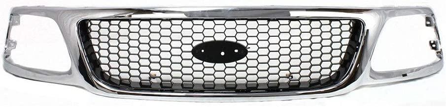 Titanium Plus Autoparts, 2000-2003 Fits For Ford F-150 Front GRILLE CHROME Black