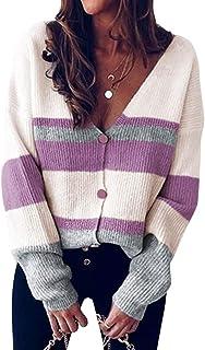 ORANDESIGNE Jersey Punto Mujer Otoño Basico Cuello en V Bloque de Color Jerséis Pullover Manga Larga Sueter Casual Sudader...