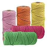 JeogYong - 5 cuerdas de macramé de 2 mm x 100 m natural hilo macramé de algodón cuerda trenzada de cuerda para bricolaje, para colgar en la pared, decoración de interiores, arte floral creativo (A)