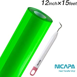 Nicapa HTV Vinyl Green Roll 12inch x 15feet Iron on Heat Transfer Vinyl Roll Bundle for Silhouette/Cricut/Brother/Easy to Weed Iron-on Heat Press T Shirts Garments Stencil Vinyl