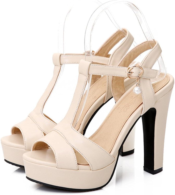 Women's Open Toe Heeled Sandals Ankle Strap Dress Party Sandals-(Beige-34 3.5 B(M) US Women)