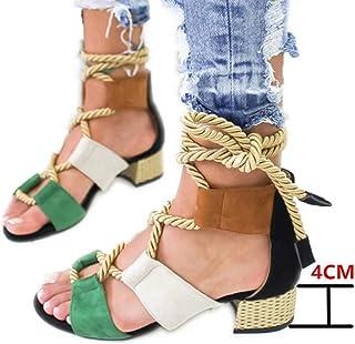 ed488d40 Sandalias Mujer Verano 2019 Tacon 4CM Sandalias Romanas Cuerda de Cáñamo  Zapatos Gladiador Punta Abierta Sexy