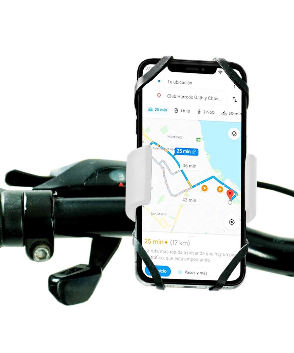Antber Soporte movil para Moto Compatible con iPhone XR Doble sujecion Universal valido para Todo Tipo de manillares Soporte movil Bici Soporte Moto movil (Blanco): Amazon.es: Electrónica
