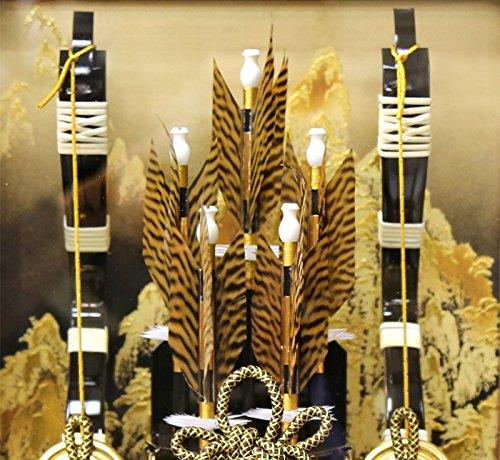 破魔弓久月ケース飾り龍河本籐金箔鏃15号茶暈カブセケースh021-k-ryuga15
