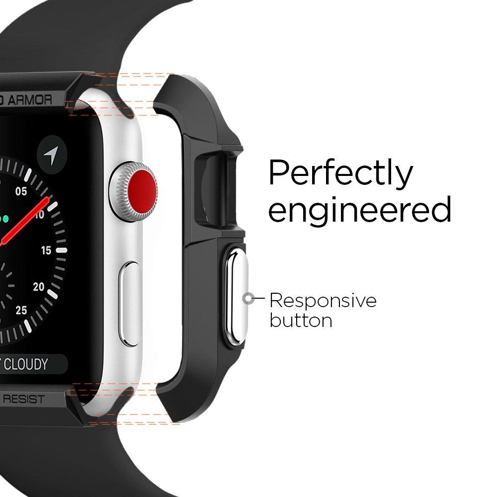 Spigen Rugged Armor Designed for Apple Watch Case for 42mm Series 3/Series 2/1/Original (2015) - Black