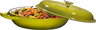 Enameled Cast Iron Casserole Braiser Pan with Cover, 3.8-Quart, Lime Green
