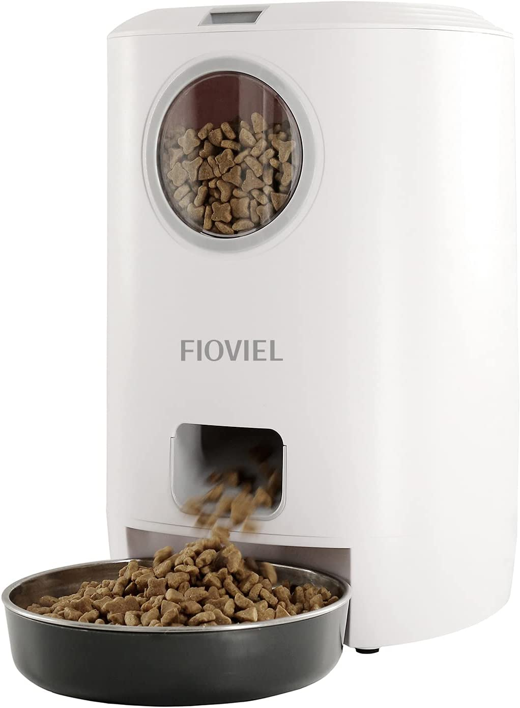 FIOVIEL Automatic Cat Feeder, Automatic Pet Feeder Dry Food 4.5L, Dry Food Dispenser for Cats and Small Dogs with Stainless-Steel Bowl, Clog-Free Design, 10s Voice Recorder & up to 4 Meals per Day
