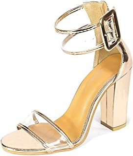 3b500d61dbe7 Women s High Heel Platform Dress Pump Sandals Ankle Strap Block Clear  Chunky Heels Party Shoes