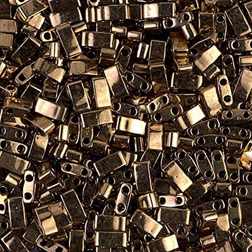 Perline in bronzo scuro metà Tila 7,2 grammi Miuki Square 5mm 2 fori