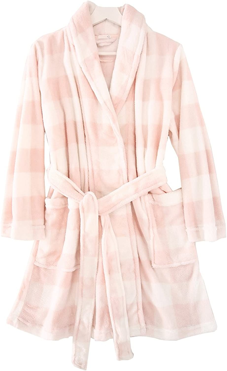 Women'S robe super plush fleece spa bathrobe pink lattice