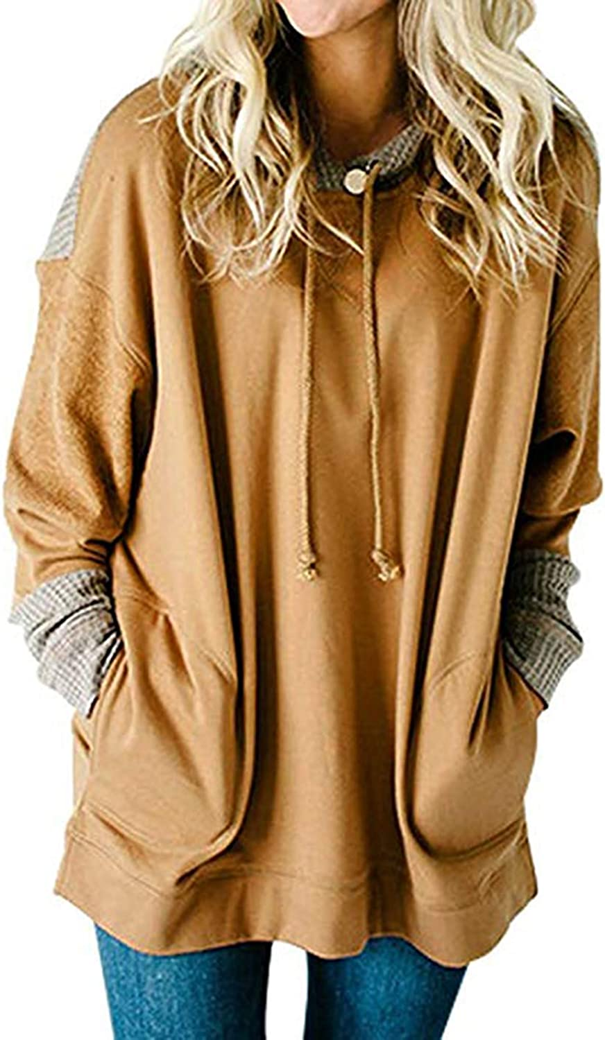 Brilliant sun Women's Waffle Knit Splice Strappy Long Sleeve Hoodies Sweatshirts Plus Size