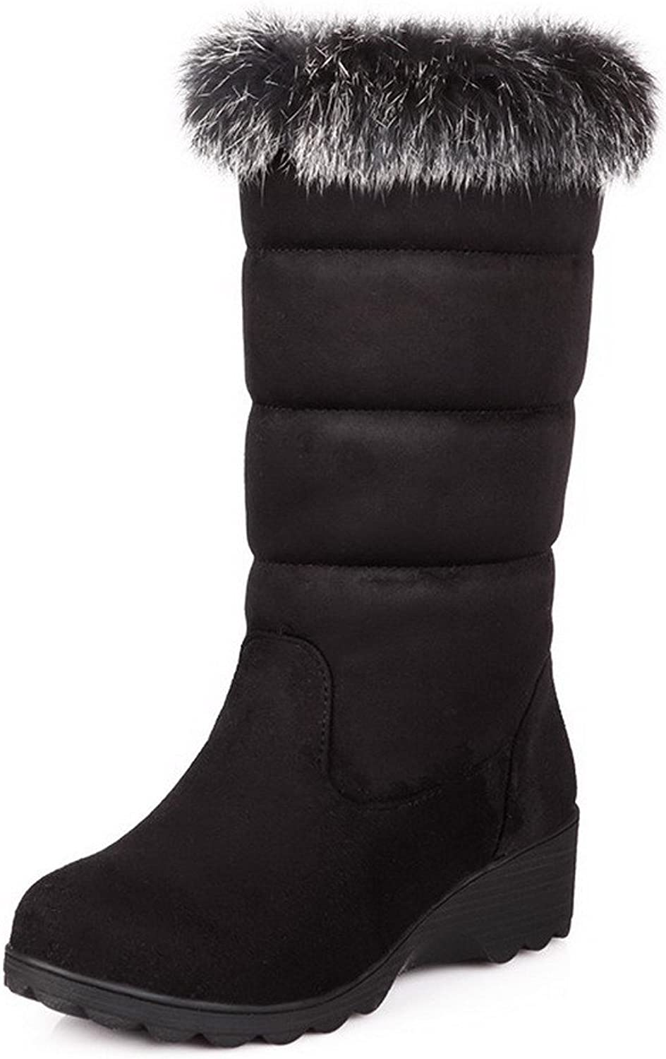 AmoonyFashion Womens Closed Round Toe Blend Materials PU Frost Short Plush Solid Boots with Flatform, Black, 7.5 B(M) US