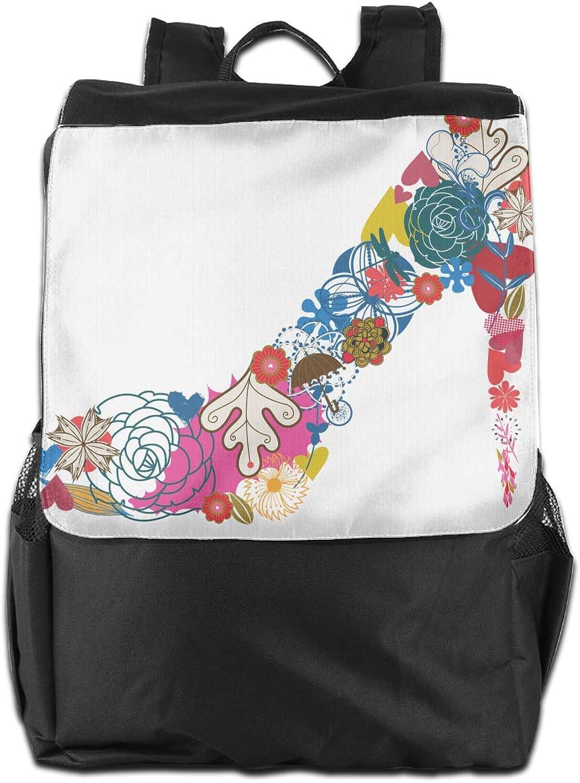 Flower High Heeled shoes Printed Boys Backpack Lightweight Casual Shoulder Bag School Daypacks