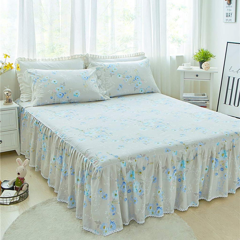 たっぷりシンプルさビザ豪華なプレミアム品質のしわと色あせ耐性のエジプト品質マイクロファイバーマルチフリルベッドスカート (色 : N n, サイズ さいず : 180x200cm+pillowcase)