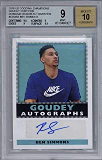 2018 Goudey Ben Simmons Diamond Dealer Signed Basketball Card BGS 9 10 Auto - Upper Deck Certified - Unsigned Basketball Cards