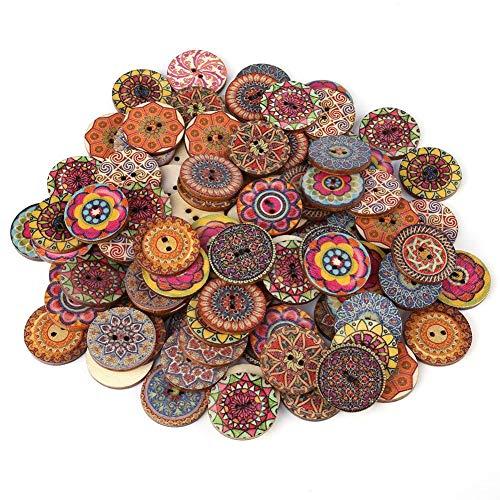 ViaGasaFamido Botones, 100 Piezas Patrón de Color Mezclado Botones de Madera 2 Agujeros Patrón Redondo Redondo Botones...