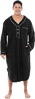 Men's Warm Fleece Sleep Shirt, Long Henley Nightshirt Pajamas