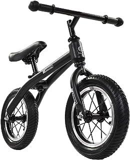 Kids' Balance Bike No Pedal Bicycle, Air-Filled Tyres No-Pedal Adjustable Lightweight Running Walking Bike 12in,Black