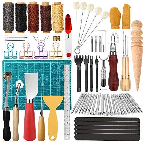 Electop 64-teiliges Leder-Arbeitswerkzeug und -Zubehör, Leder-Nähwerkzeuge, DIY-Leder-Handwerk-Werkzeug, Handstich-Set mit Groover Ahle, gewachste Fadennadeln, Schneidematte, Stanzwerkzeug, etc.
