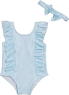 8dc6a5214b Baby Girl Bikini Striped Beach Swimsuit Ruffles Bathing Suit Swimwear+Headband  2 Pcs Set