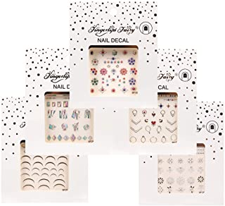 5 Sheets Nail Strip Sticker, 200pcs Waterproof Self-adhesive Nail Sticker, 3D Bronzing Laser Nail Stickers Art Designs wit...