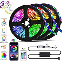 QZYL 49.2ft Music Sync RGB LED Strip Lights with Remote