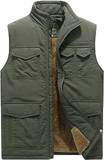 Flygo Men's Winter Warm Sherpa Lined Quilted Puffer Vest Travel Work Sleeveless Vest Jacket