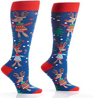 Yo Sox Women's Knee Socks Rudolph the Red Nose Reindeer in Ugly Christmas Sweater