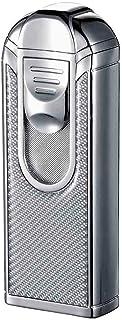 Visol ALEC IV Chrome and White Carbon Fiber Quad Torch Flame Table Lighter