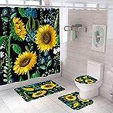 ZHEBEI Gancho girasol cortina de ducha verde plantas baño cortina set antideslizante alfombra cubierta de inodoro cubierta alfombra alfombra alfombra de baño alfombra decoración del hogar