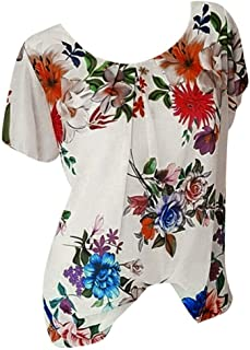 Women Blouse Tops,Ladies Sale Summer Loose Floral Printed V-Neck T-Shirt Short Sleeve Cover Up Beach Sweatshirts Plus Size Easy Top