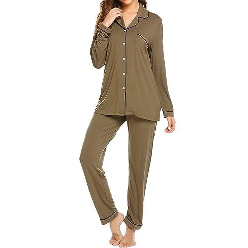 ce74e6be7 Ekouaer Pajamas Set Long Sleeve Sleepwear Womens Button Down Nightwear Soft  Pj Lounge Sets XS-