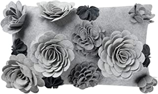 King Rose Handmade 3D Flowers Decorative Throw Pillow Cover Solid Wool Cushion Case for Home Bed Living Room 12 x 20 Inches Gray