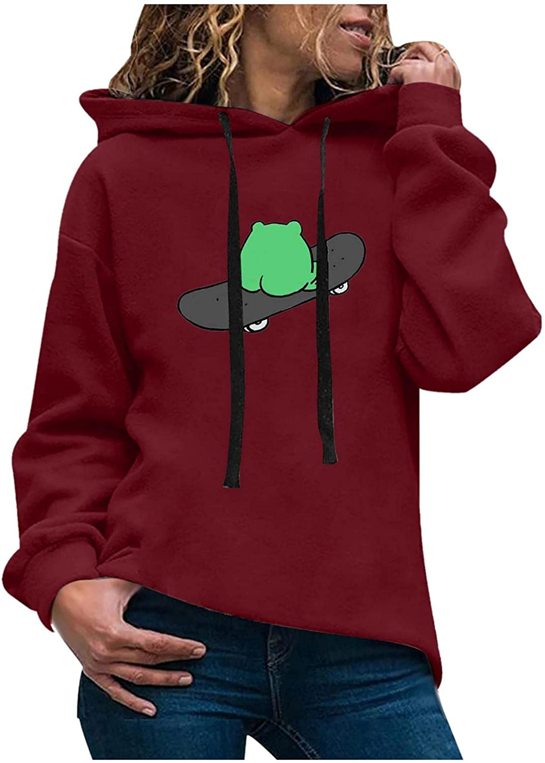 Oiumov Hoodies for Women Graphic Frog Long Sleeve Hooded Sweatshirts Crewneck Pullover Tops Sweater Shirts with Pockets