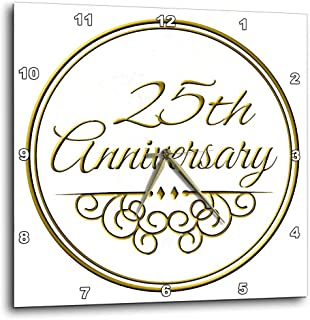 """3dRose DPP_154467_1 25Th Gold Text for Celebrating Wedding Anniversaries 25 Years Married Together Wall Clock, 10 by 10"""""""