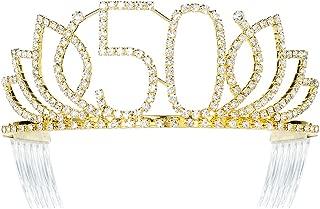 DcZeRong Queen 50 Birthday Tiara Women 50th Birthday Crown Gold Rhinestone Crystal Diamond Crown