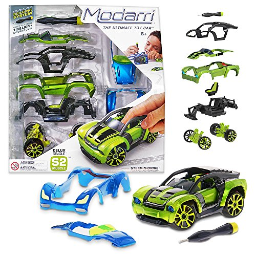 Image of Modarri Delux S2 Muscle Car Build Your Car Kit Toy Set - Ultimate Toy Car: Make Your Own Car Toy - For Thousands of Designs - Real Steering and Suspension - Educational Take Apart Toy Vehicle