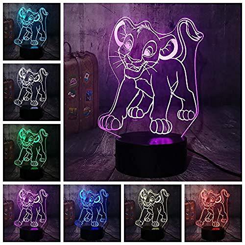 3D Nachtlampje Cartoon Lion King 3D Led Nachtlampje Rgb 7 Kleuren Desktop Tafellamp Woondecoratie Kind Kind Jongen Kerstcadeau