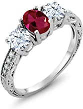 Gem Stone King 925 Sterling Silver Red Created Ruby Women's 3-Stone Women's Engagement Ring 2.52 Ctw Oval Available 5,6,7,8,