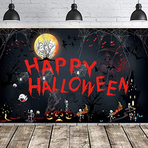 Happy Halloween Hanging Extra Large Fabric Sign Poster Background Banner for Halloween Decorations 43.3'x70.8'