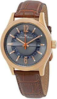 Men's 'Oxford' Quartz Stainless Steel and Brown Leather Casual Watch (Model: LP-40020-RG-014-BRW)