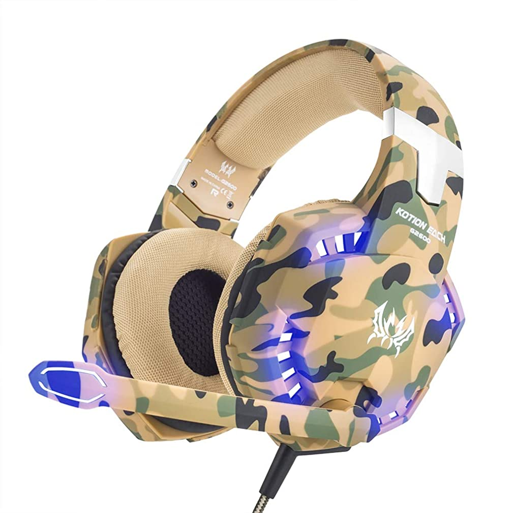 Gyswshh KOTION Each G2600 Camouflage Stereo Gaming Headset Noise Cancelling Headphones 2