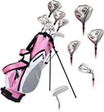Precise ES Ladies Womens Complete Right Handed Golf Clubs Set Includes Titanium Driver, S.S. Fairway, S.S. Hybrid, S.S. 7-PW Irons, Putter, Stand Bag, 3 H/C's Pink - Choose Size! (Petite Size -1